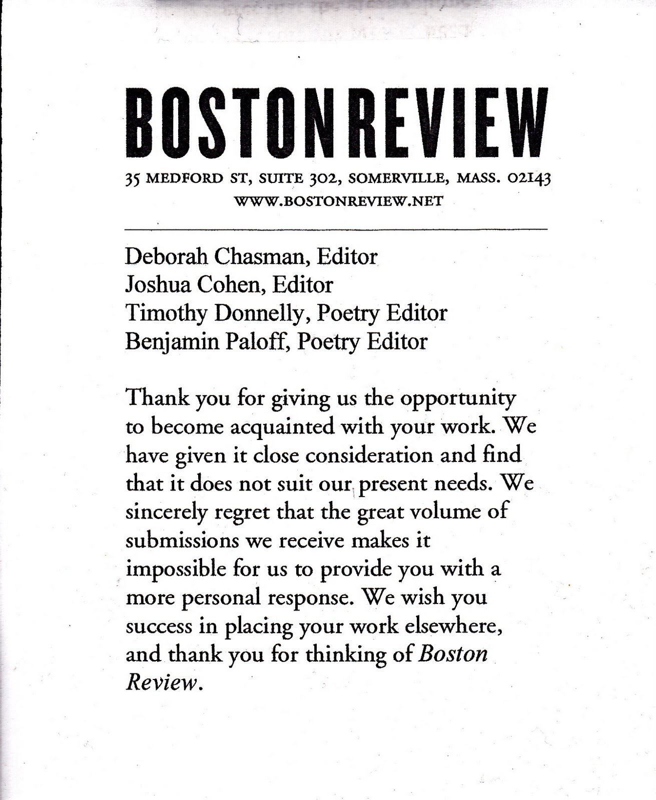 my life scanned rejection letter from boston review rejection letter from boston review