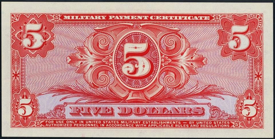 Five Dollars United States Military Payment Certificate Series 611