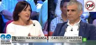 Carolina Bescansa Podemos,  Carlos Carrizosa Ciudadanos debatiendo sobre el TTIP