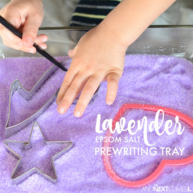 Calming lavender prewriting sensory activity and fine motor play for kids using epsom salt and cookie cutters from And Next Comes L