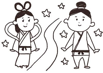 織姫と彦星と天の川のイラスト(七夕) 線画