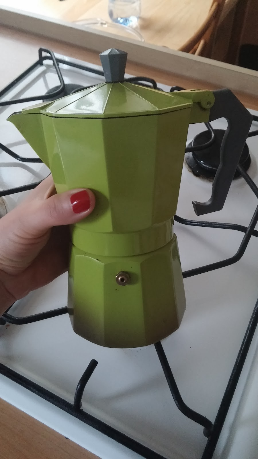 green Italian coffee maker