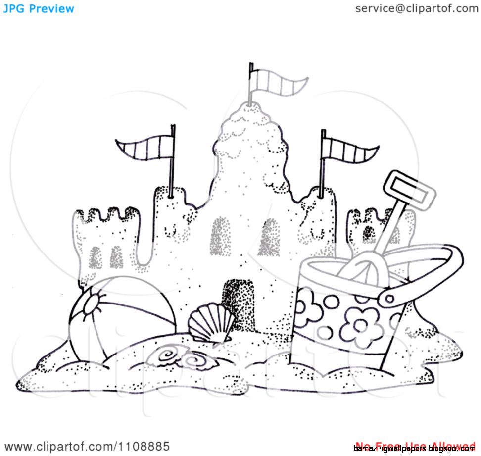 Clipart Black And White Beach Bucket And Ball By A Sand Castle