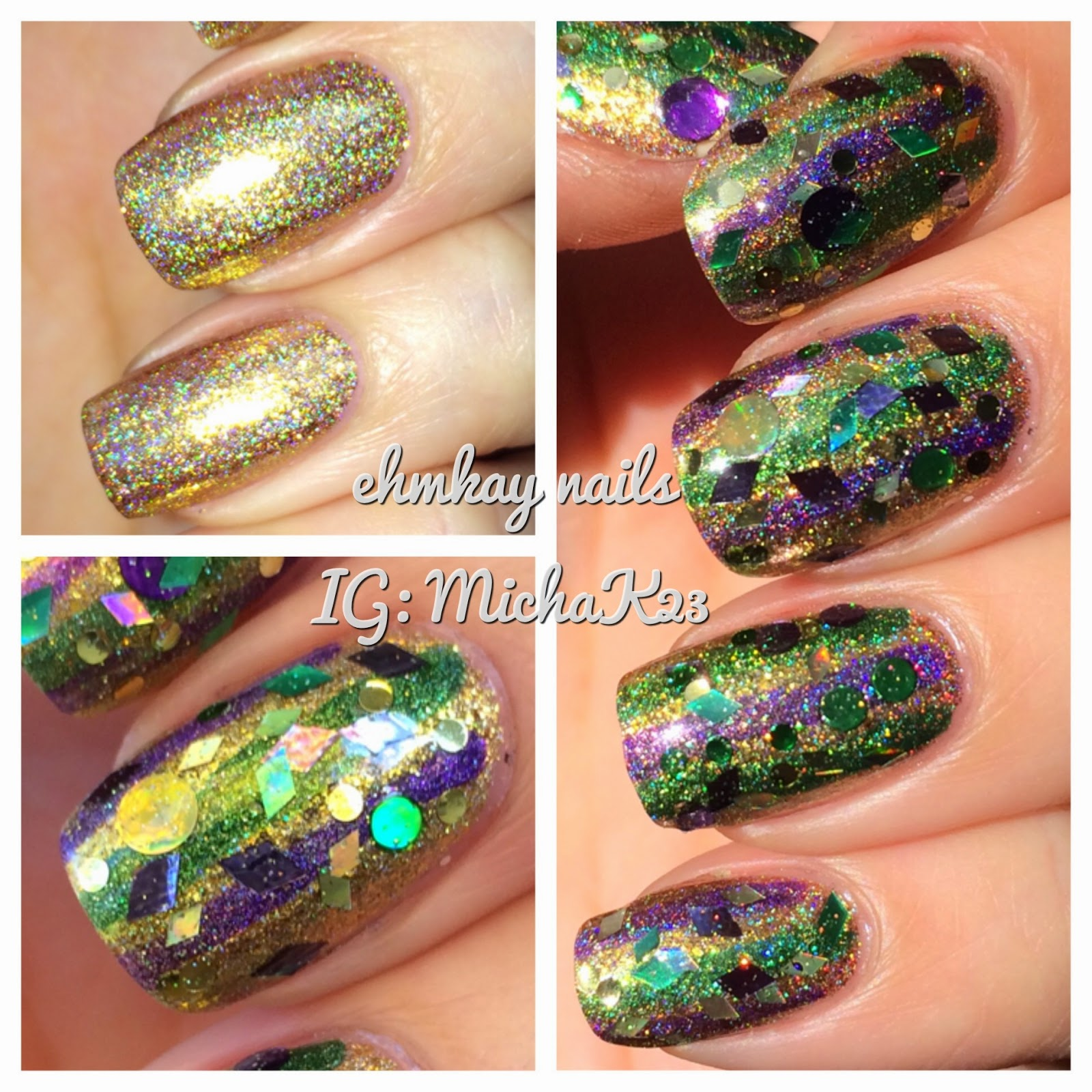ehmkay nails: Mardi Gras Stripes for Fat Tuesday!