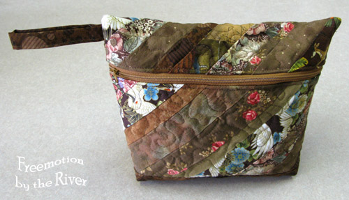 Quilted brown zippered pouch at Freemotion by the River