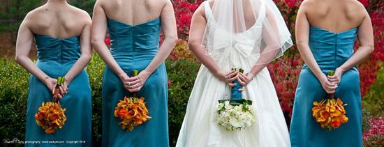 Teal and orange fall wedding