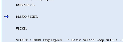 Static Breakpoints in SAP ABAP Debugger screen