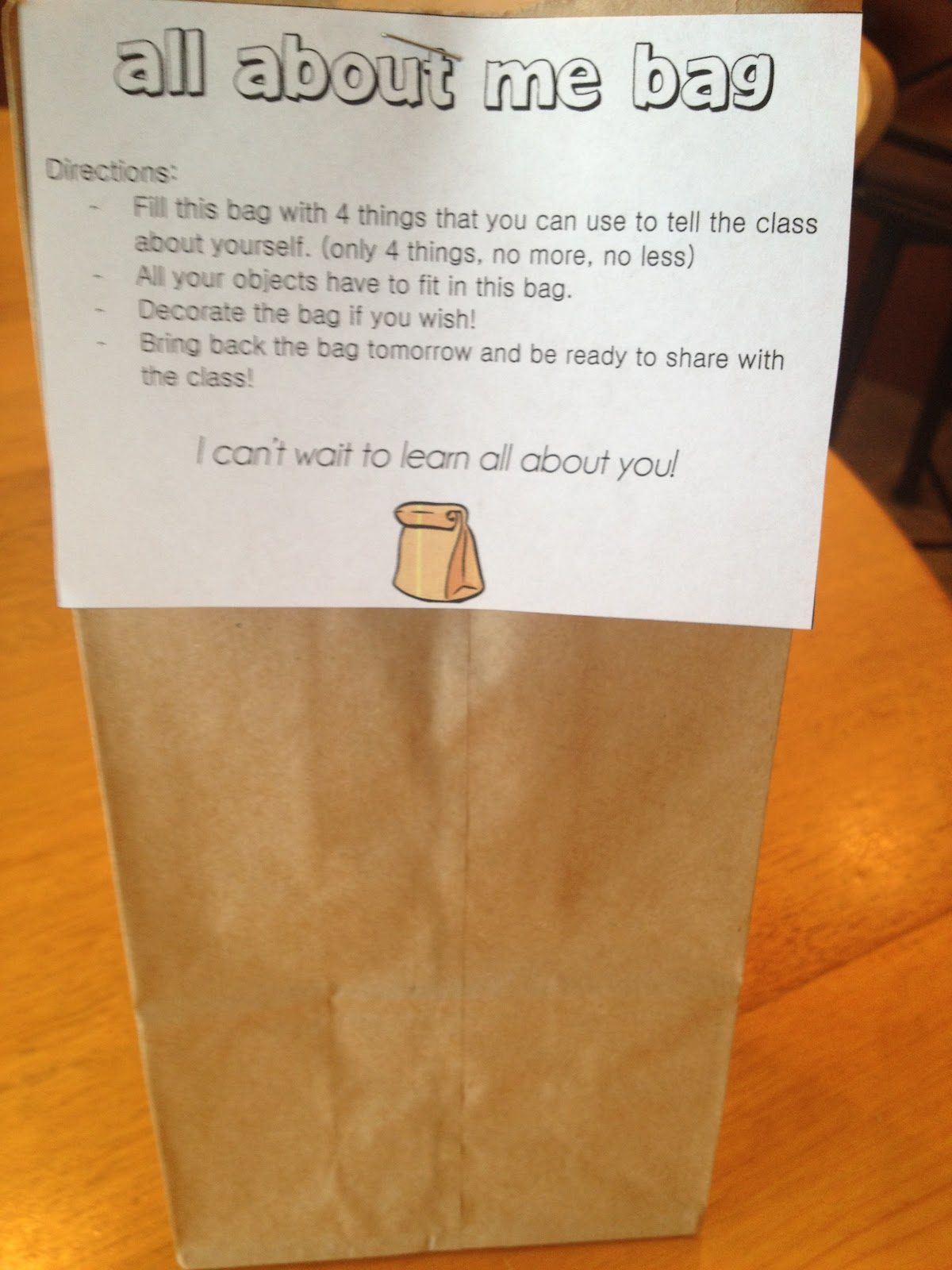 Paper bag activity - All About Me Bag