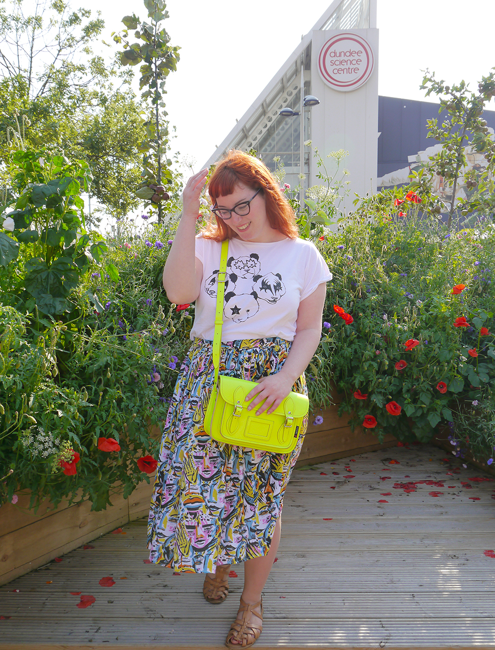 Styled by Helen, Wardrobe Conversations, Scottish Blogger, neon, bright outfit, colourful outfit, Brat and Suzie, panda Kiss tshirt, Monki x Lynnie Zulu skirt, Yoshi Neon satchel, topshop sandals, red head, ginger blogger, Dundee blogger