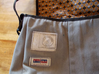denim and coffee sack messenger bag