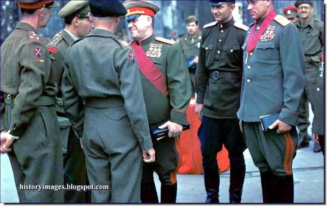 Georgy Zhukov Konstantin Rokossovsky Bernard Montgomery  Brandenburg Gate  Berlin