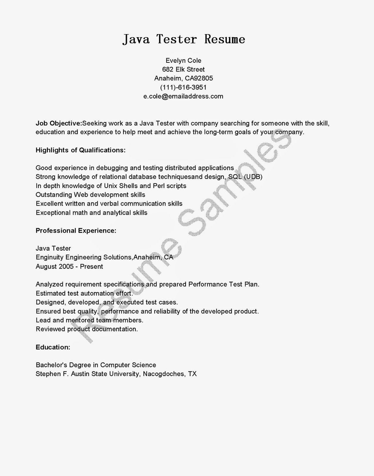 resume samples java tester resume sample