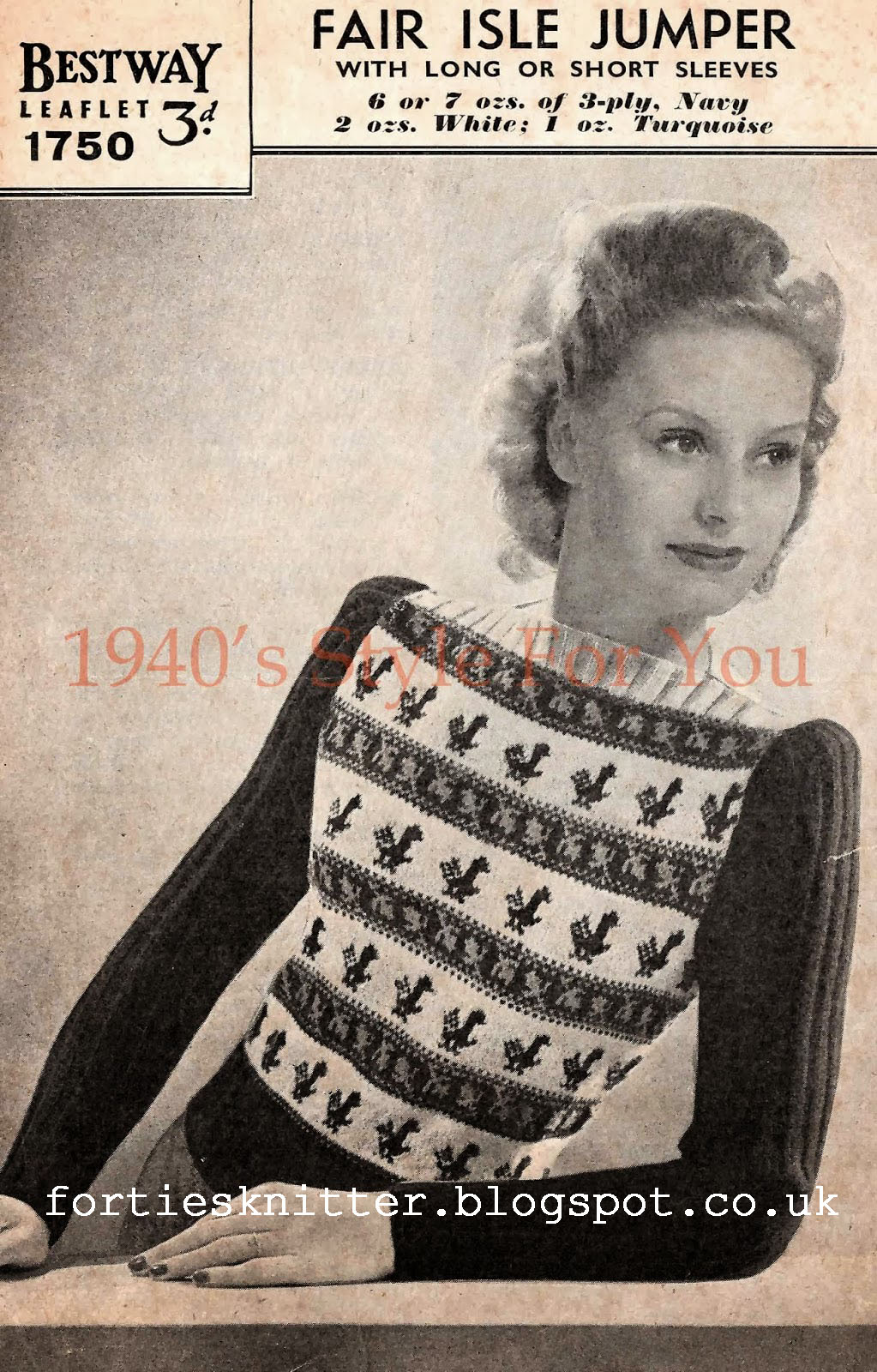Free knitting pattern 1940's Knitting - Womens Fair Isle Jumper