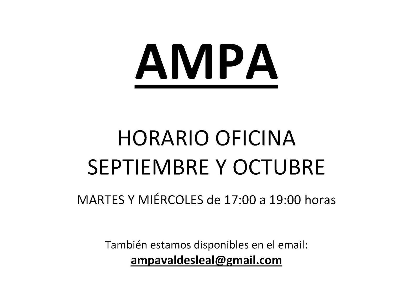 Ampa ceip vald s leal horario oficina ampa septiembre y for Horario oficina adeslas