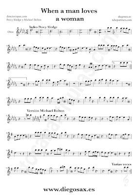 Tubepartitura When a man loves a woman de Percy Sledge partitura de Oboe Balada Pop - Rock