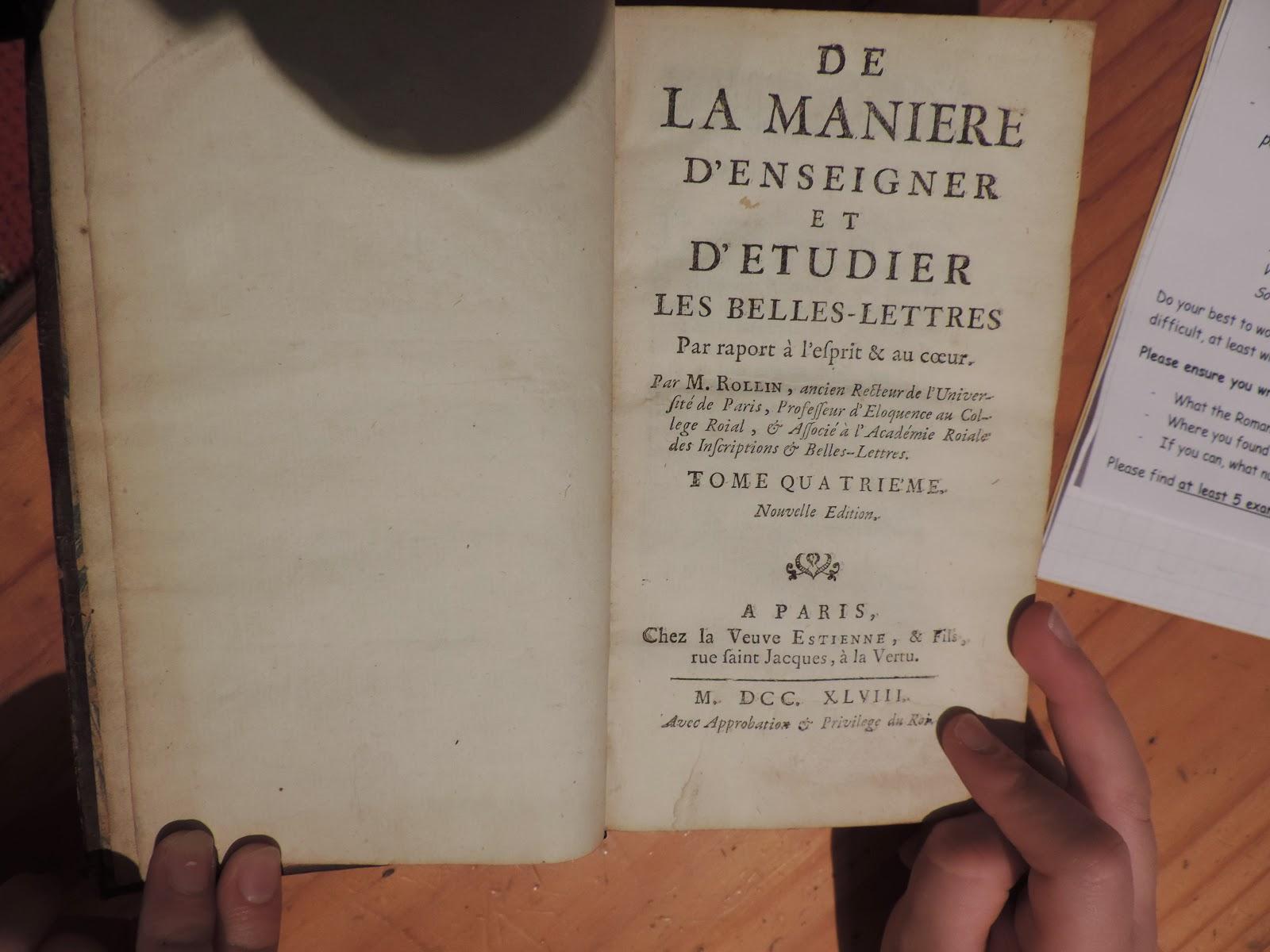 antique french book paris 1748 with secret cut out compartment