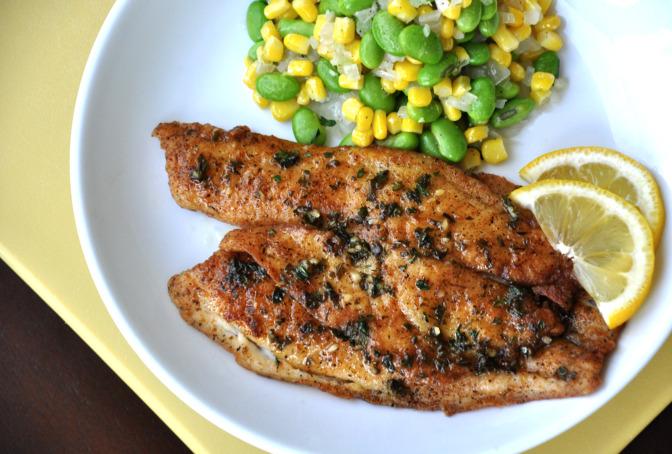 Living well with mariya pan fried tilapia edamame succotash for Fried tilapia fish