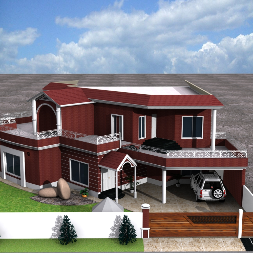 3d front european house plans one story