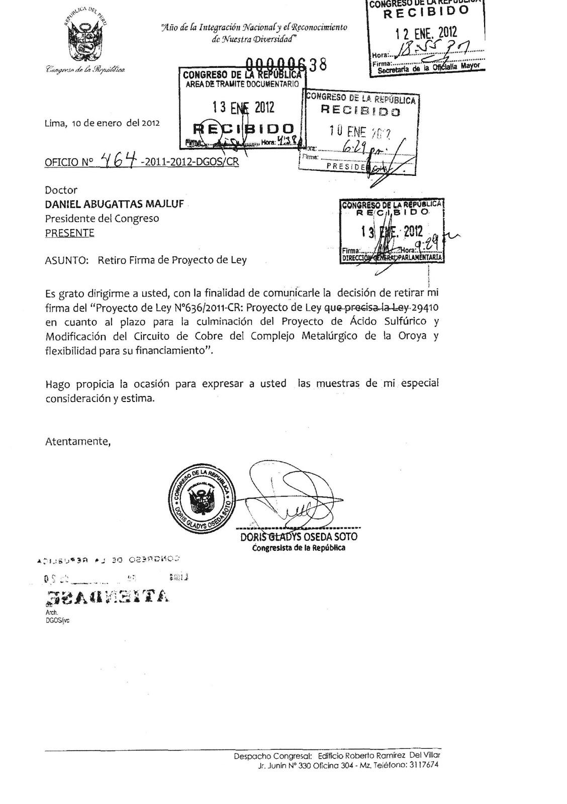 PLATAFORMA LA OROYA POR UN CAMBIO: febrero 2012