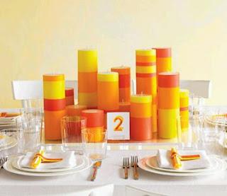 Centro de mesa con velas varios tamaños