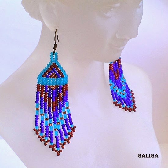 colorful seed bead bracelet and earrings set-native american cuff and earrings
