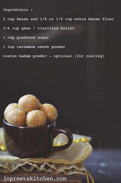 Besan Ladoo (Bengal Gram Flour / Kadalai Maavu Laddu)
