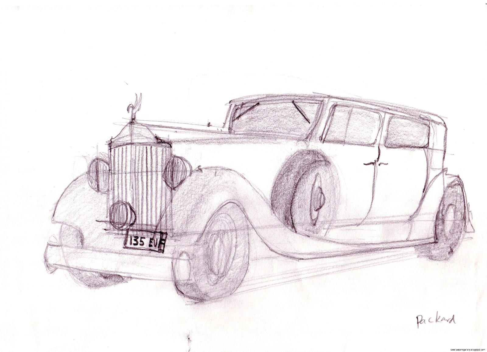 Sketch Drawings of Old Cars
