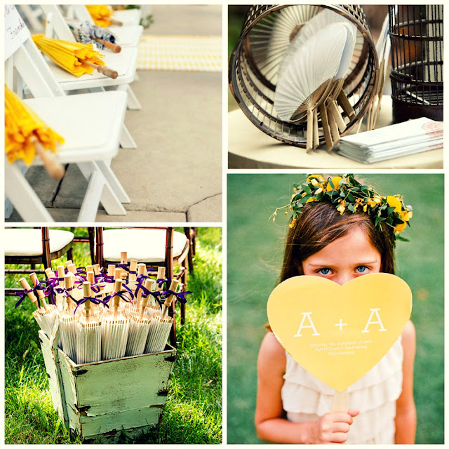 parasol and fan for a summer wedding