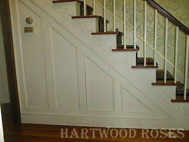 Side View, Showing The Plain Square Balusters, Curvy Stair Trim And  Paneling With Moldings. (July 2002)