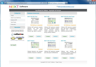 NeXT eCommerce loja virtual para venda de licenças de softwares NeXT