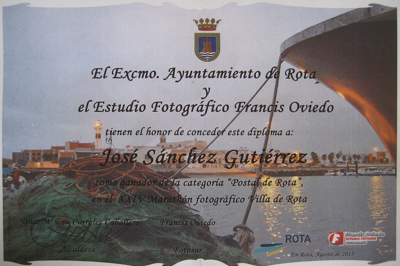 Diploma ganador Marathón Fotográfico 2013