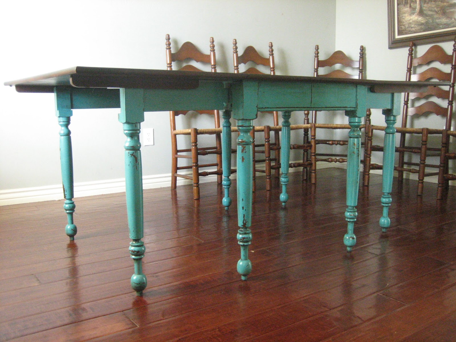 European paint finishes teal dining table amp ladderback chairs