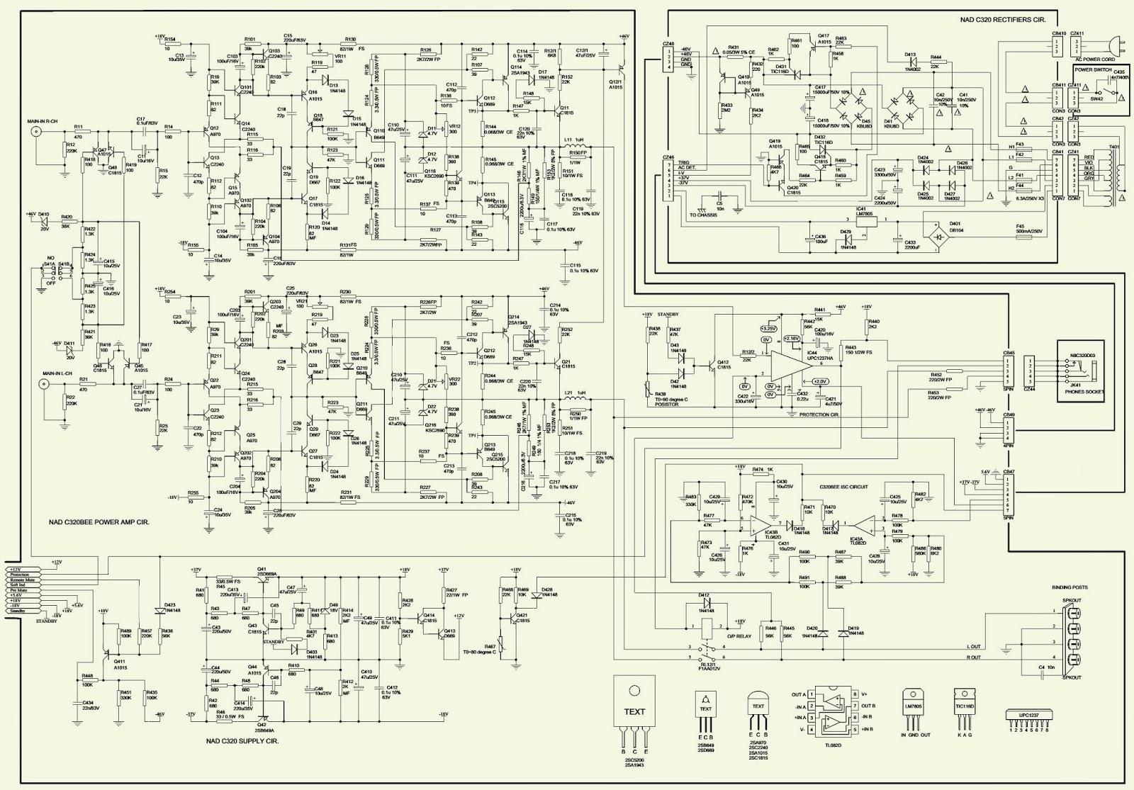 nad c 320bee stereo amp schematic circuit diagram electro help rh electronicshelponline blogspot com nad c320 user manual nad c320bee user manual