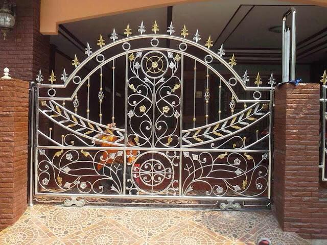 ประตูสแตนเลสลายดอกไม้