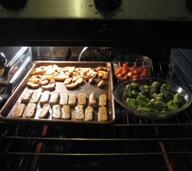 roasted vegetables and tempeh