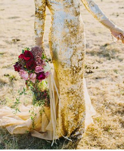 Golden sequined evening gown