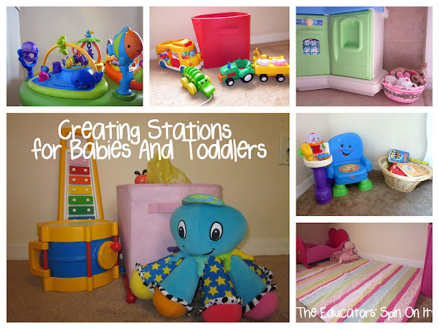 Ideas for Creating and Storing Toy Stations for Babies and Toddlers from The Educators' Spin On It