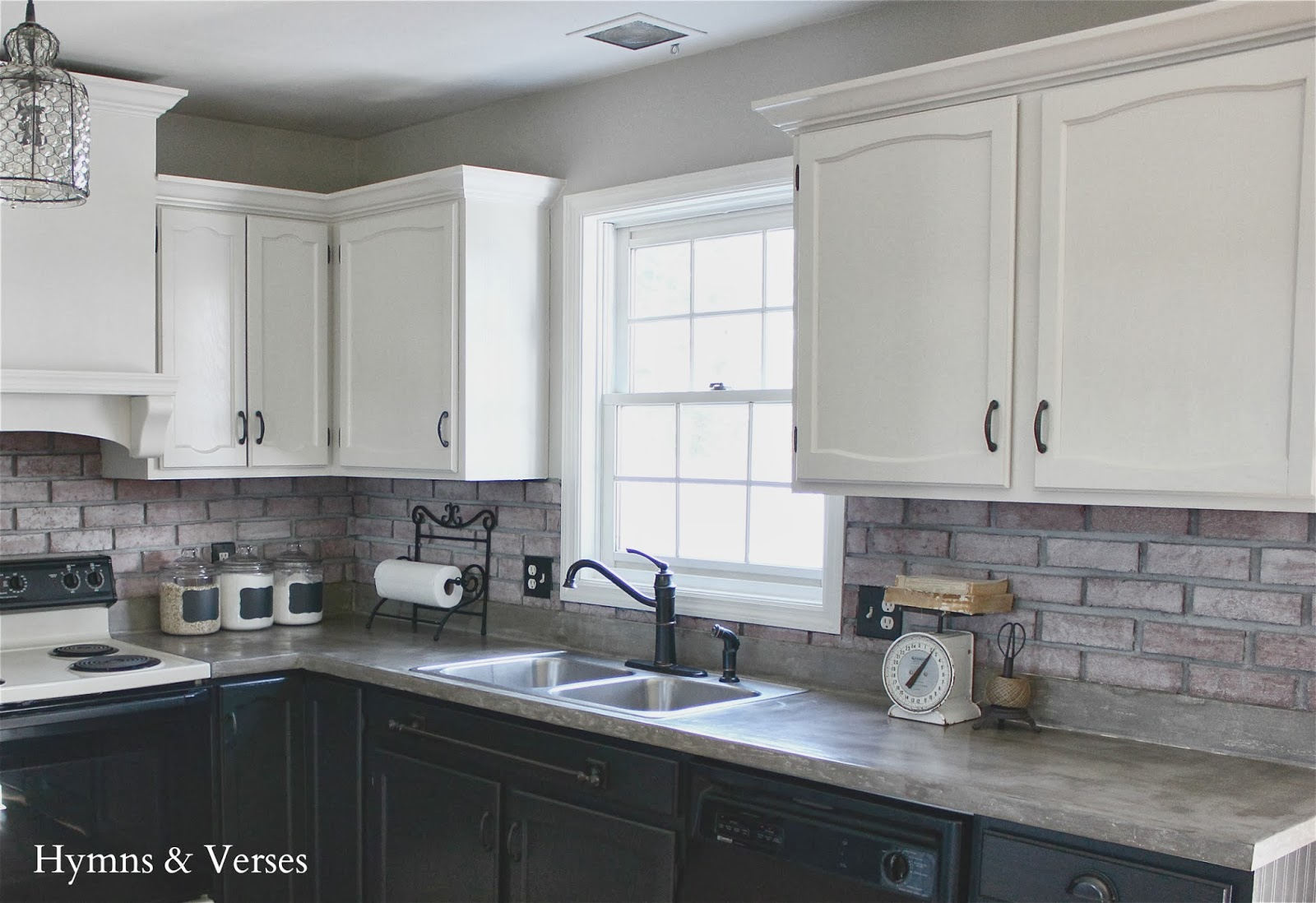 Our diy kitchen makeover hymns and verses for Black and white painted kitchen cabinets
