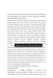 "acta constitutiva del consejo comunal ""Los vencedores del barrio La Toma"""