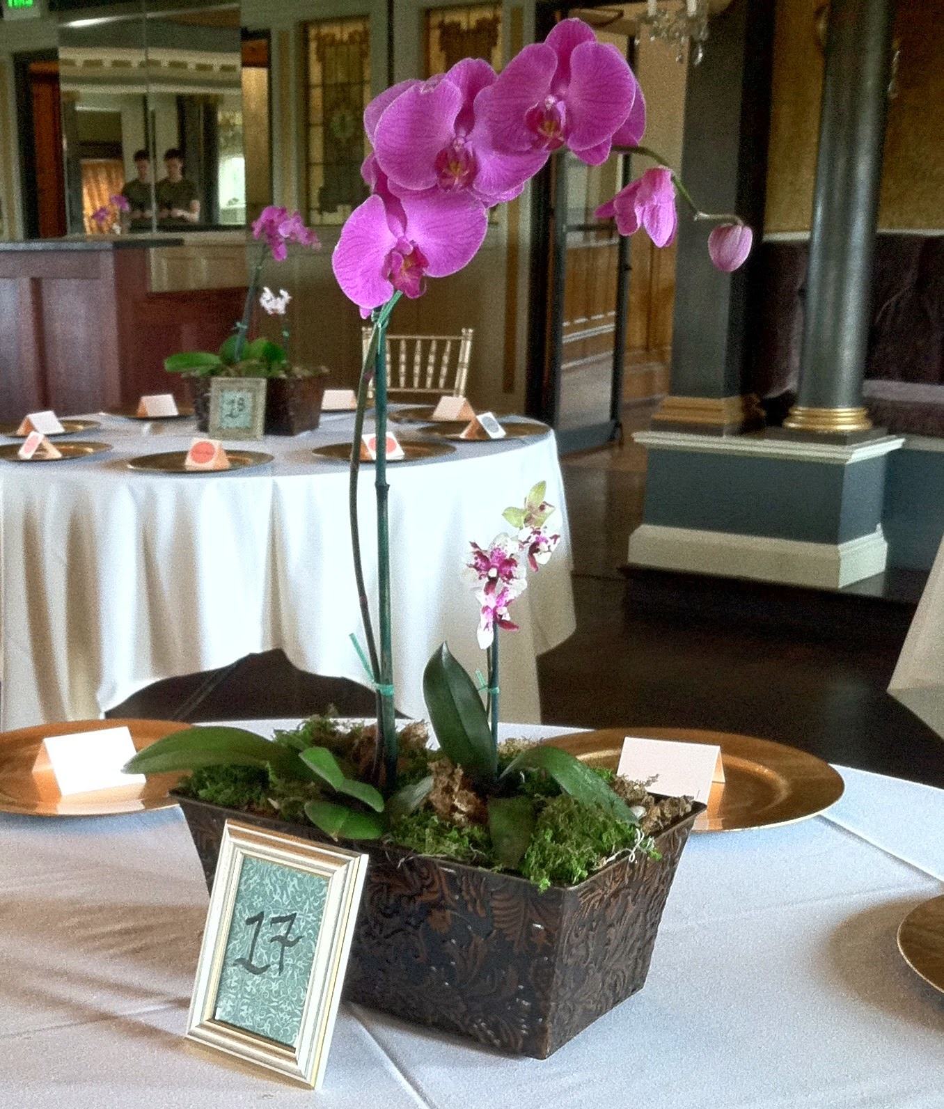 Chuck does art wedding centerpieces orchids