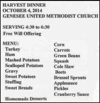10-4 Genesee UMC Harvest Dinner