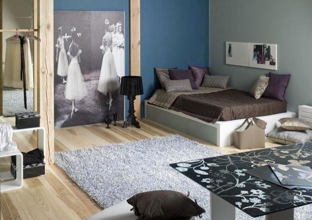 Dormitorios de adolescentes en azul y gris dormitorios - Paredes habitacion juvenil ...