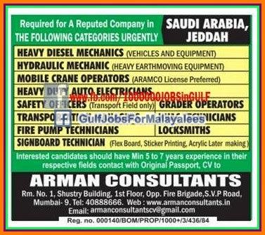 Job Vacancies For A Reputed Company Jeddah Ksa Indian E