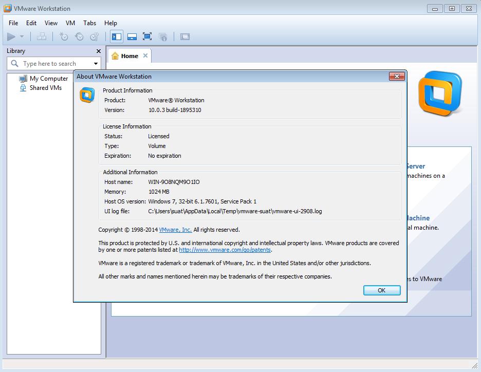Software VMware Workstation 10.0.3 Build 1895310 Final