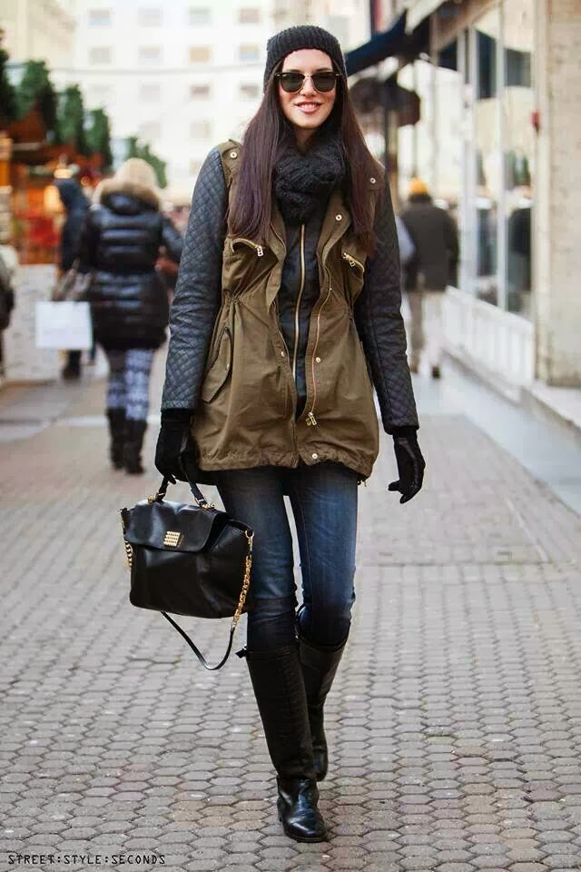 Winter Outfit - Amazing Jacket, Handbag, Jeans, Long Boots, Scarf