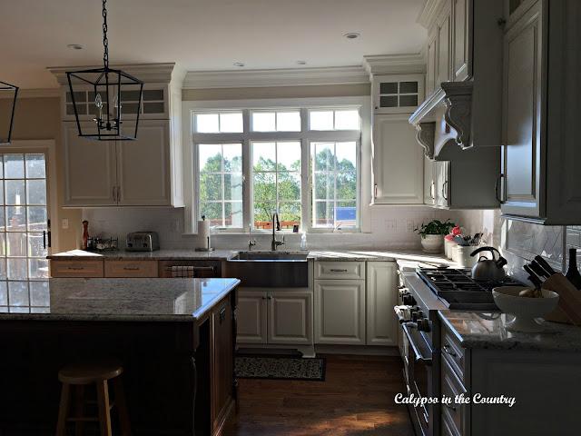 White Kitchen with 3 Transom Windows