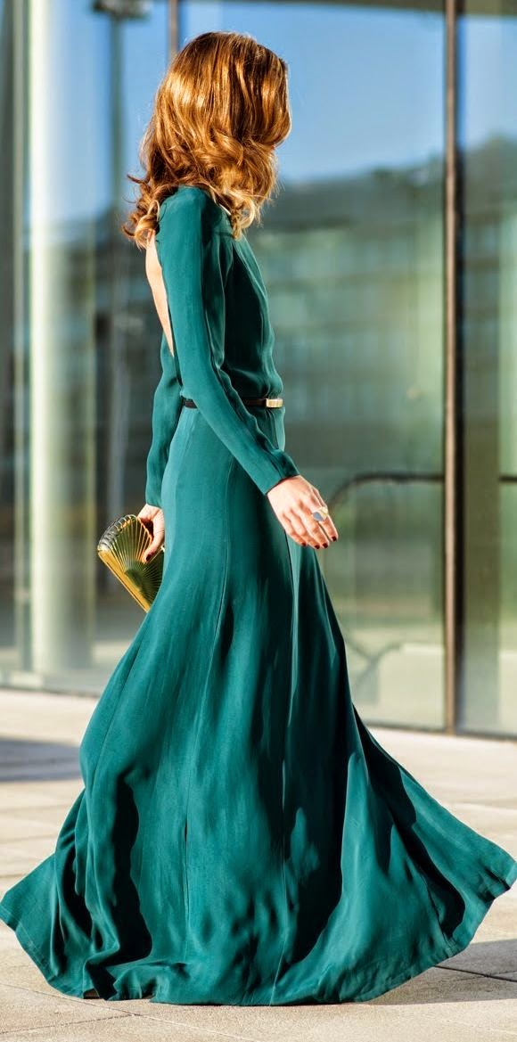 Green Open Back Gown 2015 by Ms Treinta