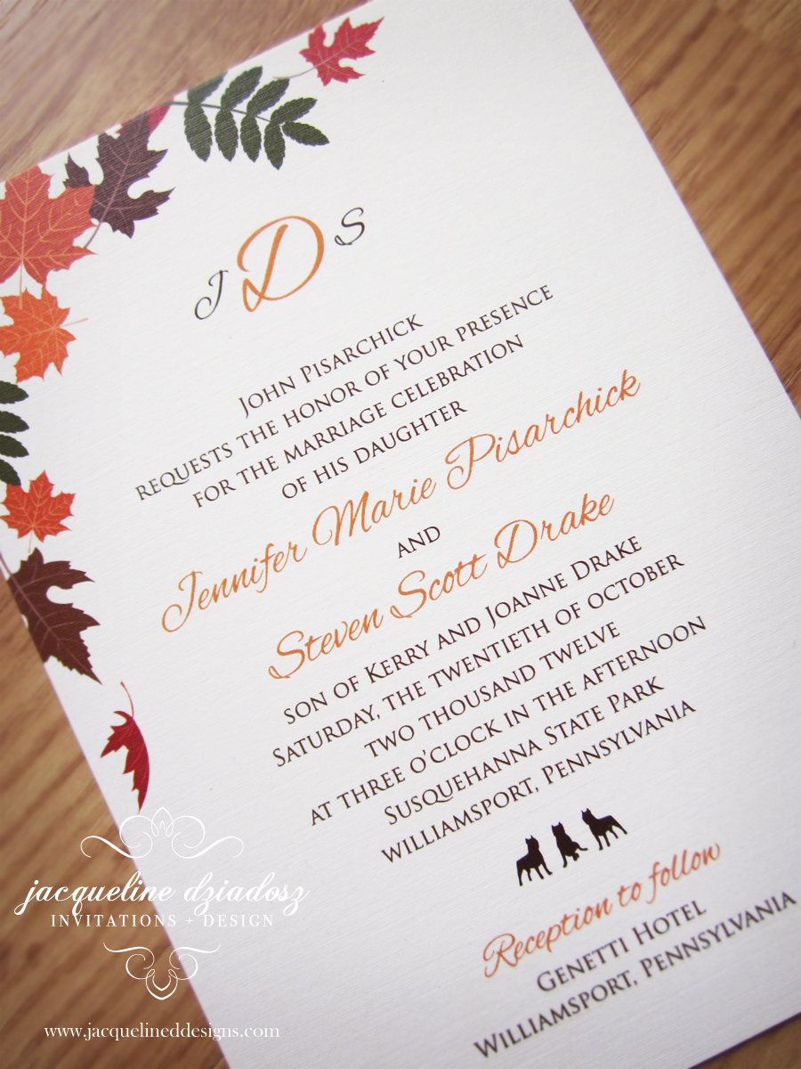Fall wedding invitations jacqueline dziadosz invitations design autumn wedding invitations i designed recently for georgette michael and jennifer steven i also designed matching wine labels reception signs monicamarmolfo Image collections