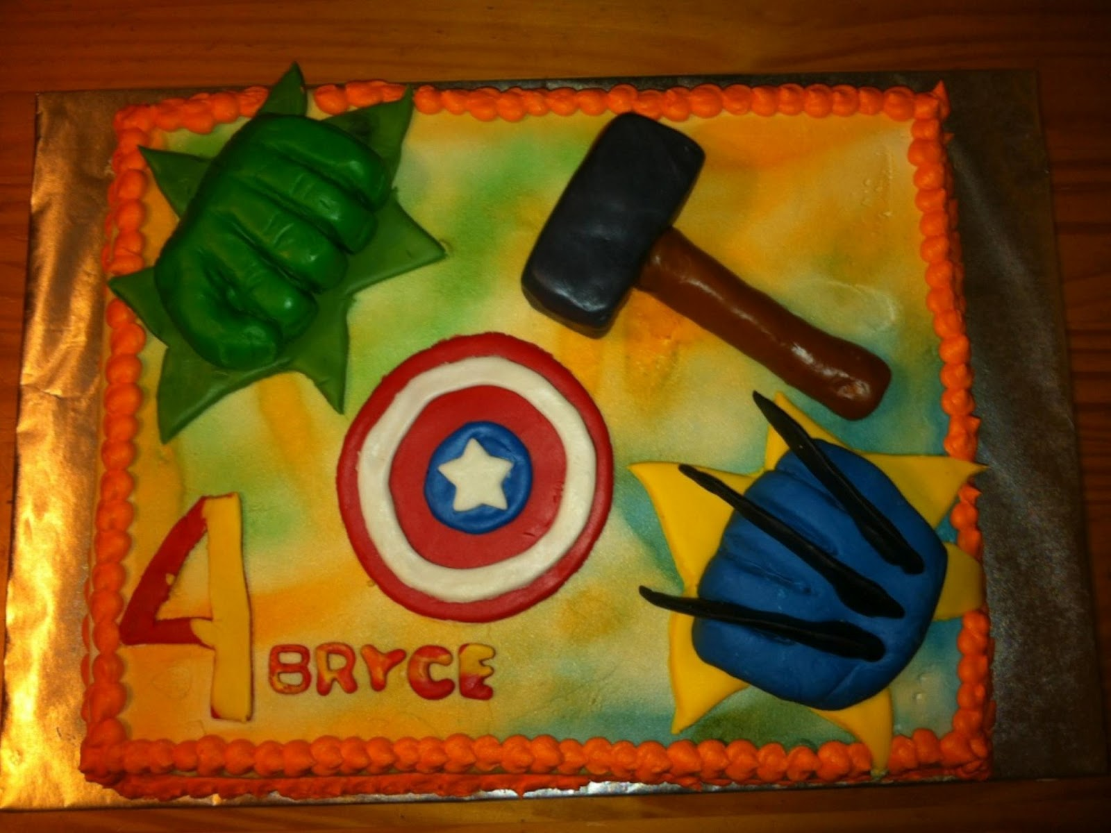 The Avengers, super hero theme cake. Chocolate cake with buttercream