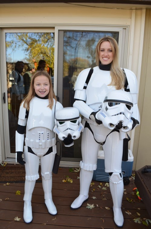 Mom and Daughter Star Wars Storm Trooper Costumes